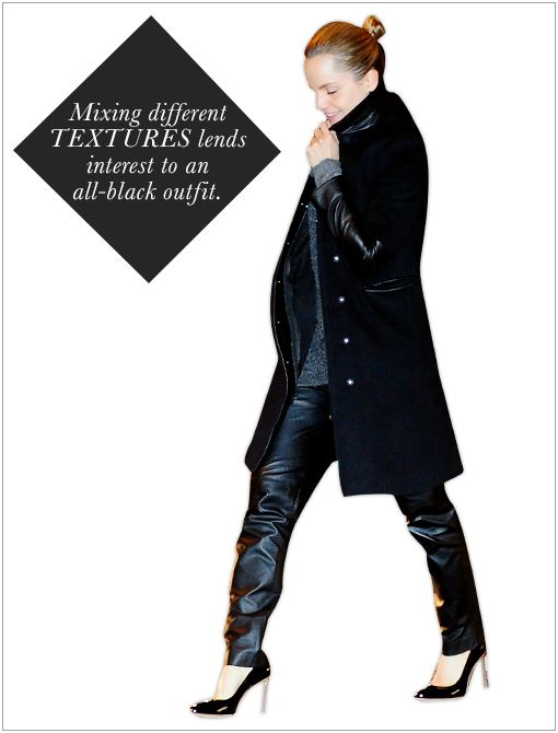 Get The Look: River Island Navy Contrast Leather Look Biker Jacket ($110)  Image courtesy of Splash News