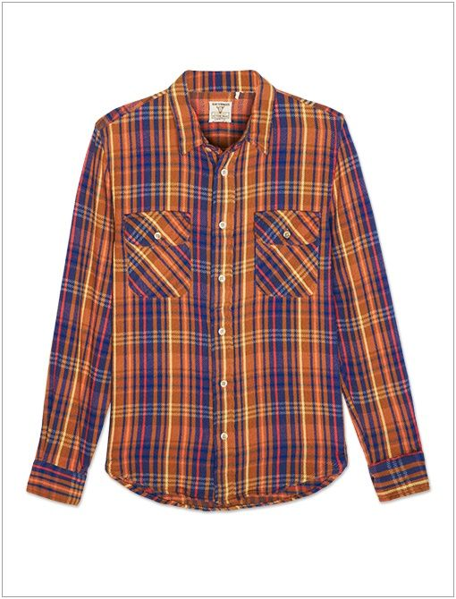 1950's Shorthorn Shirt ($250) in Rubber Check Go for a borrowed-from-the-boys look with a plaid button-up.