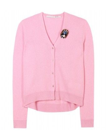 Schumacher  Crystal Cashmere Cardigan with Embellished Brooch