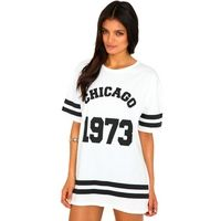 Miss Guided  Noelle Chicago Print Oversized Tee