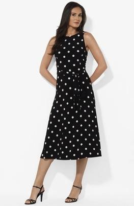 Lauren by Ralph Lauren  Polka Dot Matte Jersey Dress