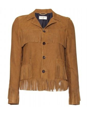 Saint Laurent Suede Jacket with Fringe Detail