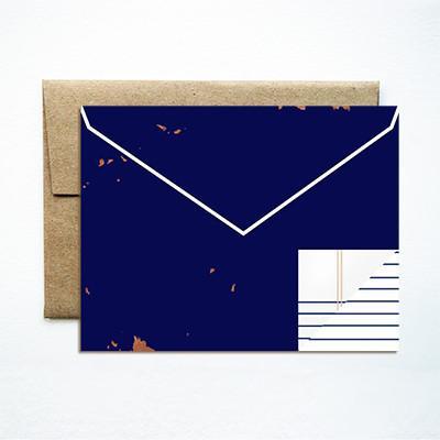 Ferme A Papier Envelope Navy Card