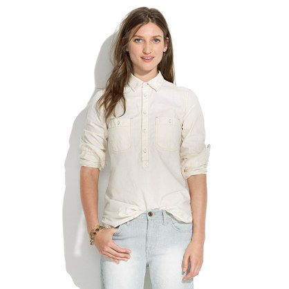 Madewell Chambray Popover In Linen Wash