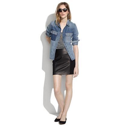 Madewell Leather Panel Skirt