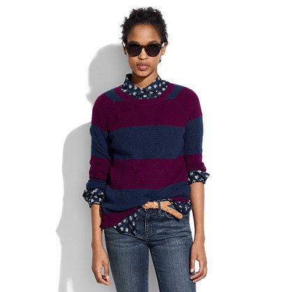 Madewell Perfect Textured Sweater In Stripe
