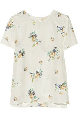 Band of Outsiders  Floral-Print Silk-Habotai Top