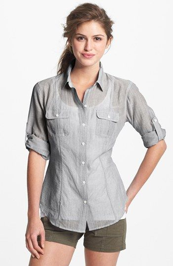 Sandra Ingrish Roll Sleeve Stripe Shirt