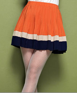 Moonbasa Color-Block Pleated Skirt