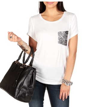 Windsor White Tee With Sequin Pocket