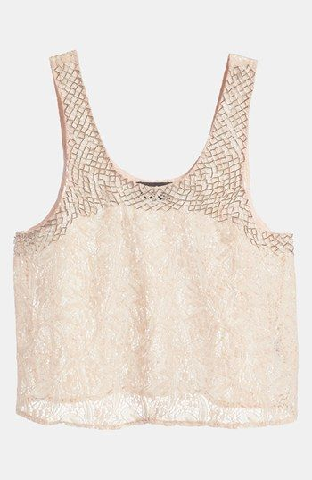 ASTR Beaded Lace Crop Top