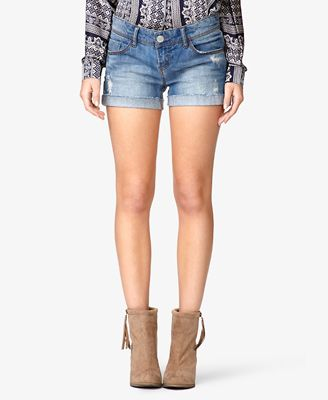 Forever 21 Frayed & Cuffed Denim Shorts