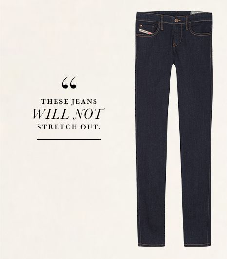 Though Diesel's Skinzee 0813C Super Skinny Jeans ($168) in Blue Jeans look stiff, don't be alarmed. They're soft, supple, and a dream to slip on—plus, wait until you see...