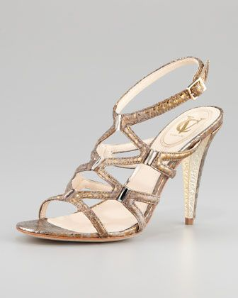 Vince Camuto  Vogue Metallic Snake-Print Sandal