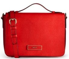 DKNY  DKNY Saffiano Flap Shoulder Satchel