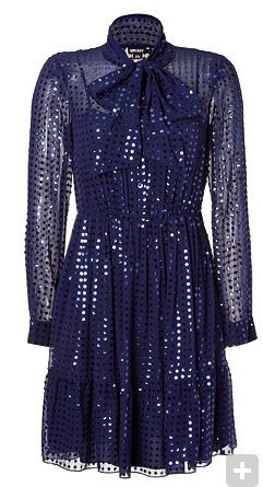 DKNY  Cadet Blue Sheer Silk Sequined Tie Neck Dress