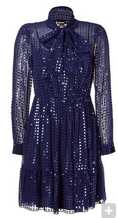 DKNY  Cadet Blue Sheer Silk Sequined Tie Neck Dress