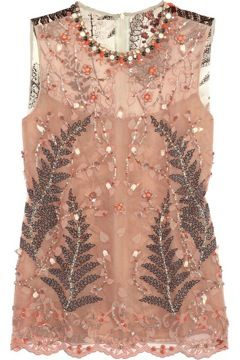 Biyan  Soraya Embellished Mesh and Silk-Satin Top