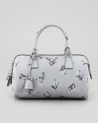 Prada  Floral Print Soft Saffiano Satchel Bag