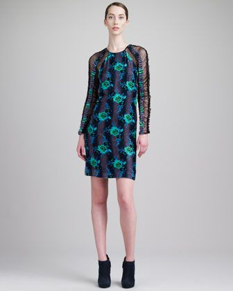 Christopher Kane  Long-Sleeve Floral Dress