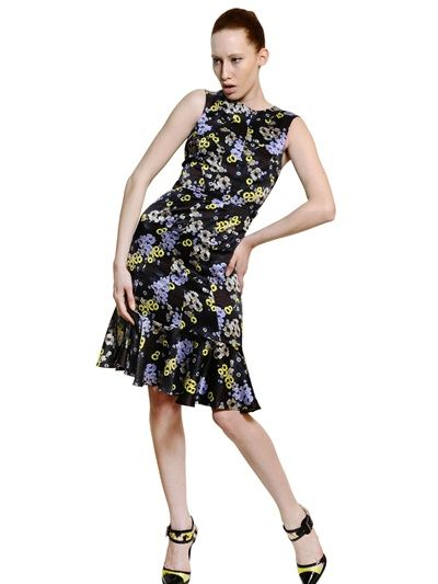Erdem  Flower Printed Silk Satin Dress