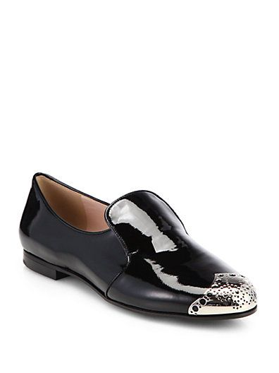 Miu Miu  Cap Toe Patent Leather Smoking Sneakers