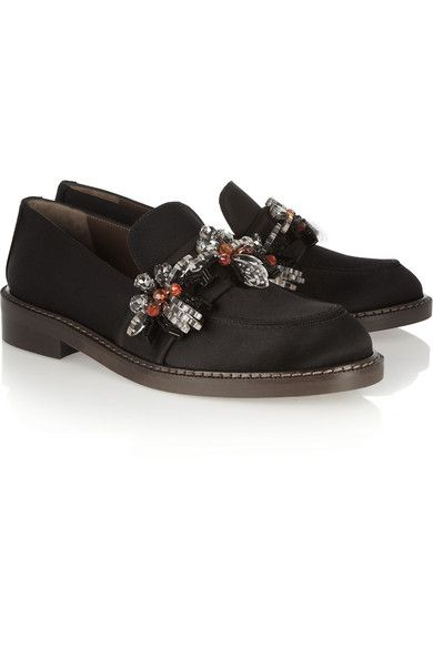 Marni  Embellished Satin Loafers