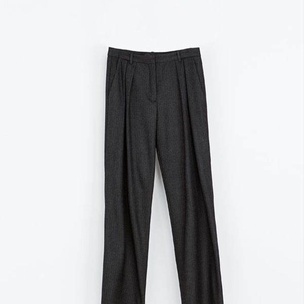 Zara  Legged Herringbone Trousers