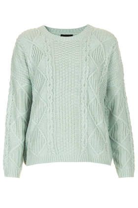 Topshop  Knitted Angora Cable Jumper