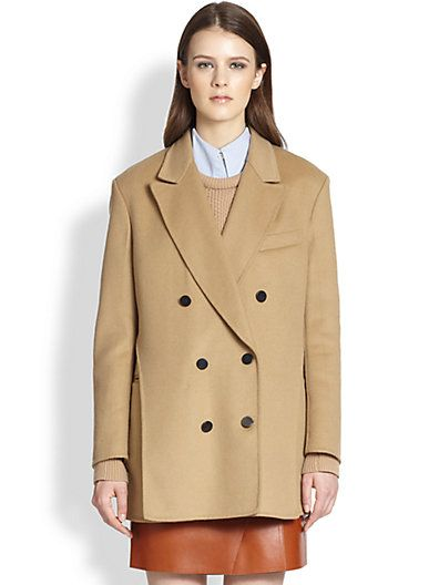 3.1 Phillip Lim  Layered-Effect Double-Breasted Wool Peacoat