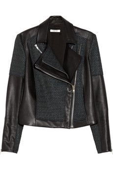 Helmut Lang  Leather and Jacquard Jacket