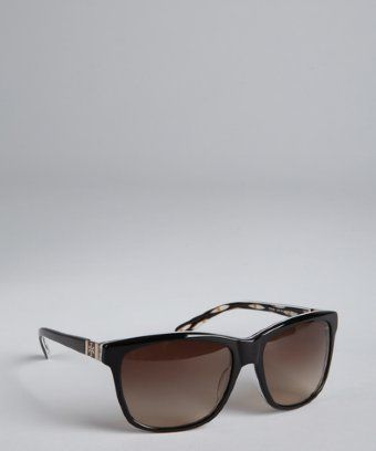 Tory Burch  Black and Animal Print Acrylic Wayfarer Sunglasses