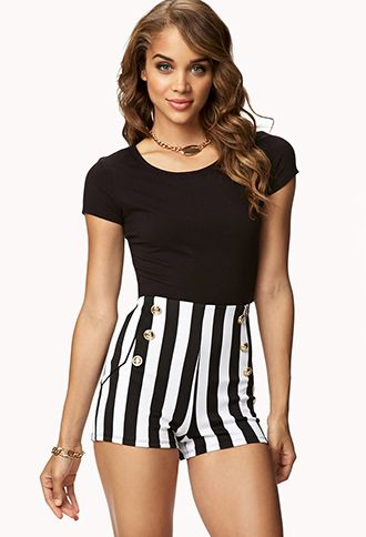 Forever 21  High-Waisted Nautical Striped Shorts