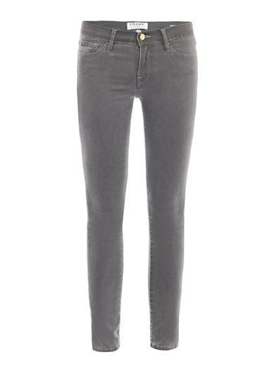 Frame Denim  Luxe Noir Mid-Rise Skinny Jeans