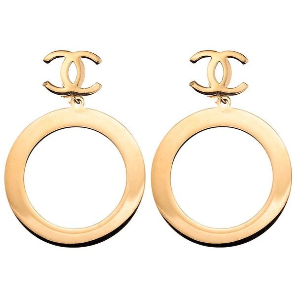 Chanel Vintage Dangling Hoop Earrings