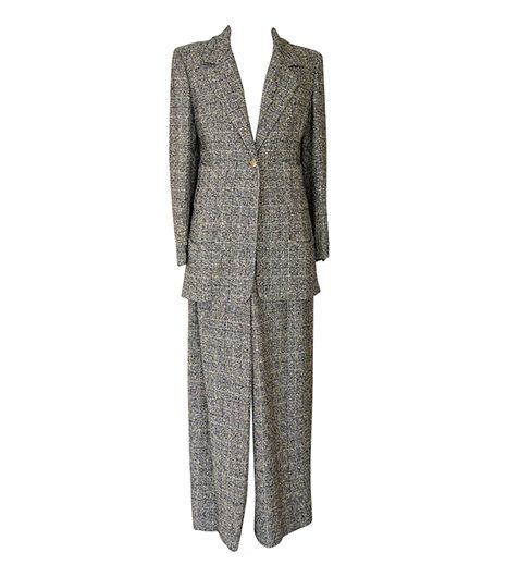 Vintage Windowpane Pantsuit ($2775) in Grey