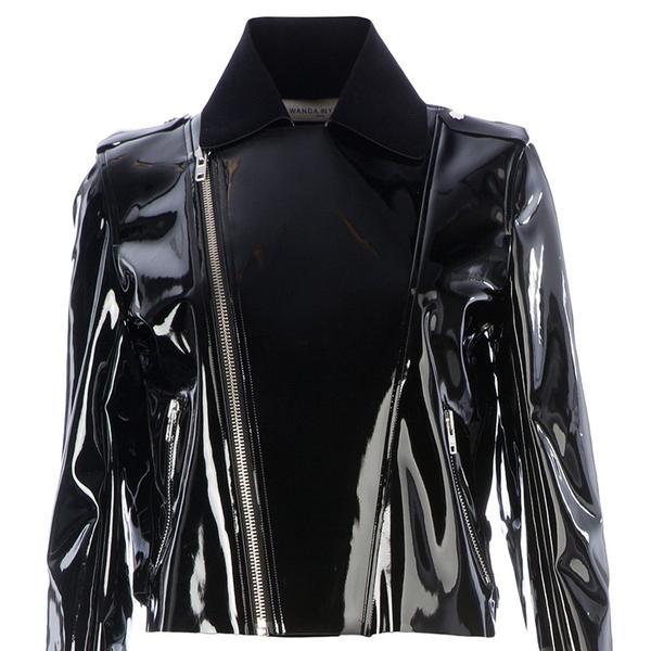 Wanda Nylon  Patent Biker Jacket