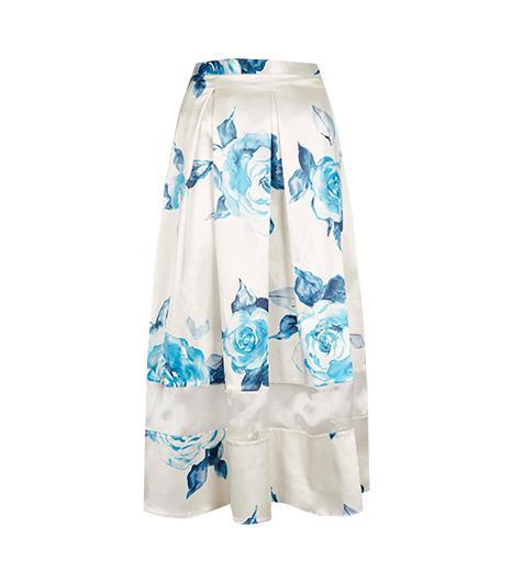 Topshop Rose Organza Insert Calf Skirt