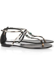 Giuseppe Zanotti  Crystal Embellished Calf Hair Sandals