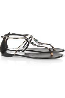 Giuseppe Zanotti  Crystal Embellished Calf Hair Sandals