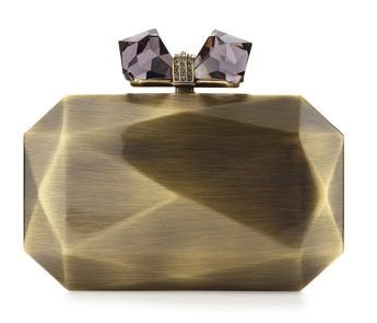 Overture Judith Leiber  Danielle Faceted Metal Bow Clutch