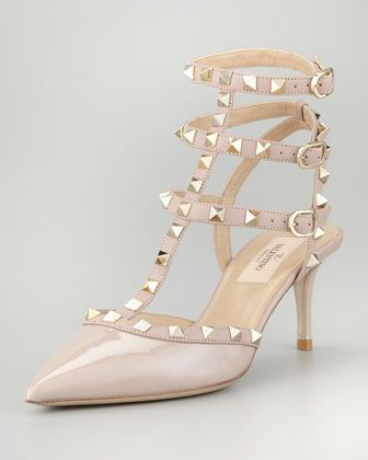 Valentino  Rockstud Patent Leather Sandals