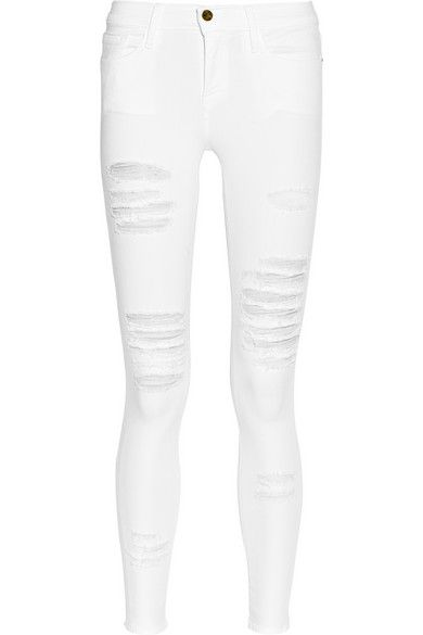 Frame Denim  Le Skinny de Jeanne Distressed Skinny Jeans