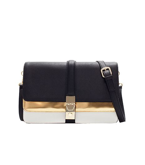 Zara City Bag With Two Metallic Foldover Flaps