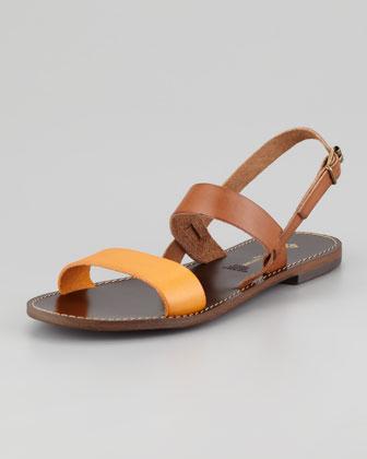 Jacques Levine  Stella Flat Colorblock Sandals