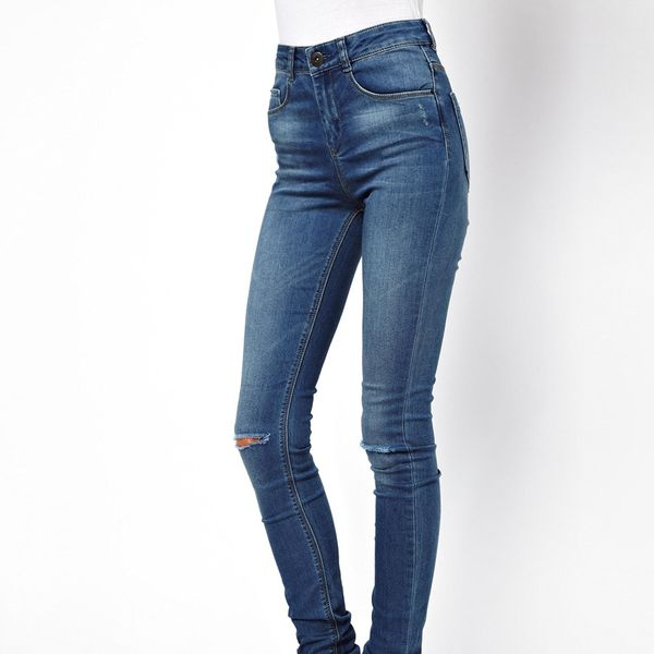 ASOS  Ridley Mid Stonewash Super Soft Ultra Skinny Jeans