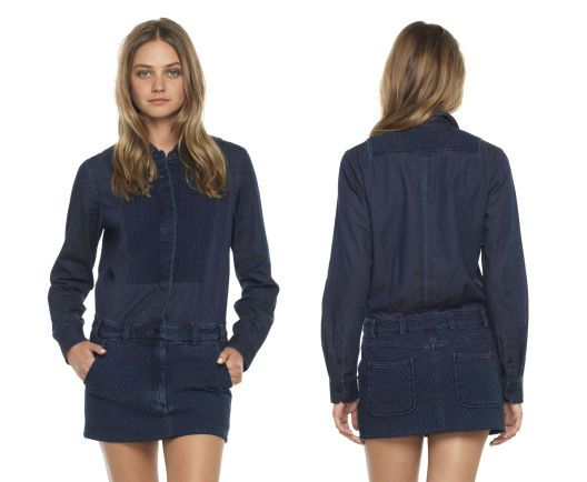 Joe's Jeans  Quilted Denim Shirt Dress