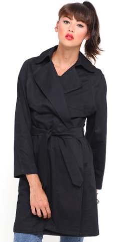 Motel Rocks  Motel Mac Trench Coat in Black