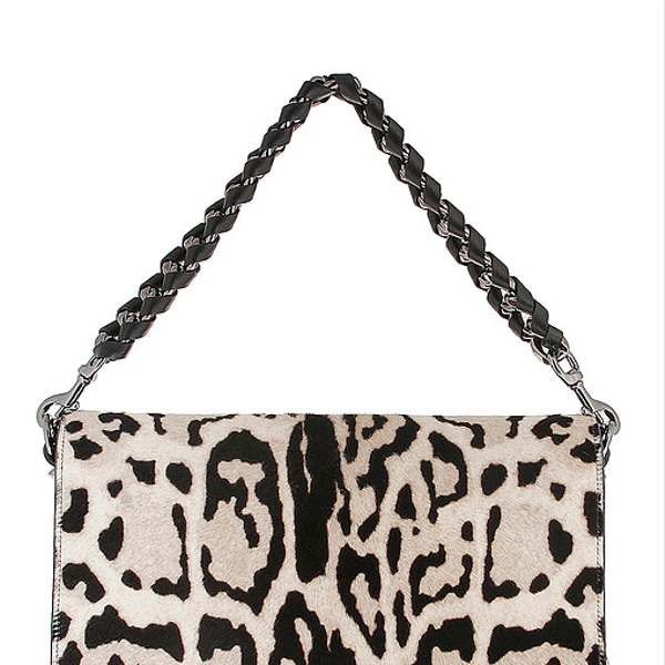 Elisa Ghisellini  White Leopard Print Flap Shoulder Bag
