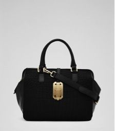 Reiss  Sage Hand-Held Croc Embossed Bag